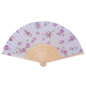 Rose folding fan - white