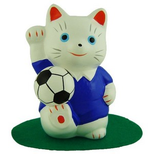 Blue footballer Lucky Cat