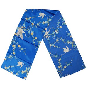 Crane and plum blossom scarf - blue