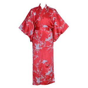 Crane And Plum Silk Kimono Red
