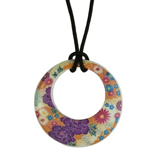 Kimono Japanese Necklace - orange/purple