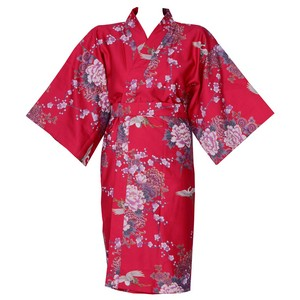 Flying Crane and Peony Kimono Wrapper, Red