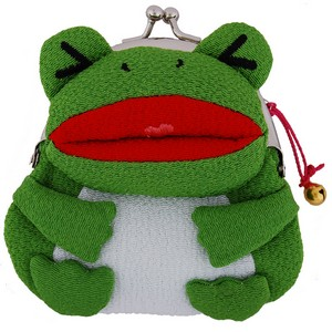 Frog purse - green with red mouth