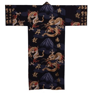 Fuji and Rising Dragon Kimono, Black
