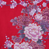 Flying Crane and Peony Kimono Wrapper, Red-4