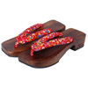 Geta sandals - red (varied pattern)-1