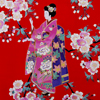 "Lady with Blossom Petite Kimono - Red (50"")-3"