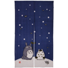 Totoro Noren Japanese Curtain (long) - blue (Snow)-1