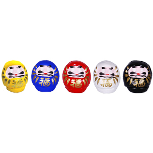 Goshiki Mini Daruma (red,blue,yellow,white,black)