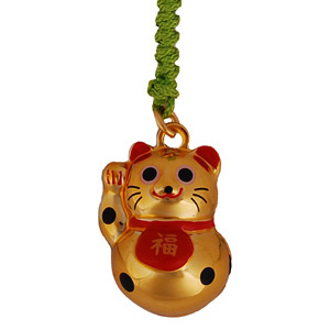 Lucky cat (gold) - mobile phone charm
