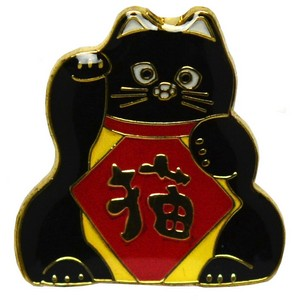 Lucky Cat Pin Badge - black