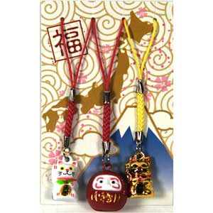 Lucky cats / Daruma mobile charms