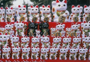Japanese Lucky Cats Postcard