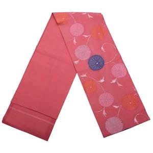 Obi - pink with chrysanthemum design - used