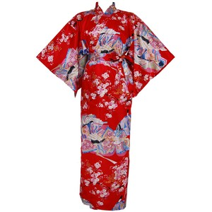 Dynasty in Cherry Blossoms Polyester Kimono, Red