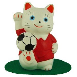 Red footballer Lucky Cat