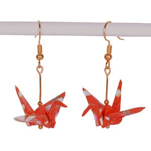 Origami Crane Earrings Handmade - Orange