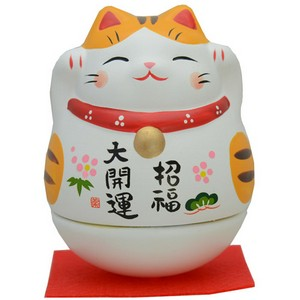 Big Roly-Poly Manekineko Lucky Cat - Tora