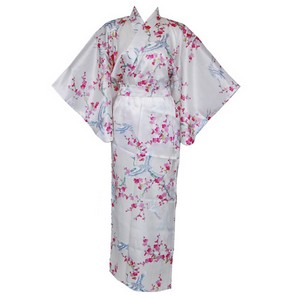 Crane and Plum Silk Kimono, Cream