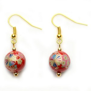Tensha Bead Chrysanthemum Earrings Handmade  - Red