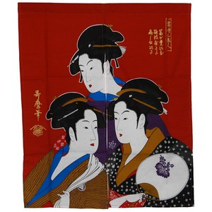 Three Ukiyo-e Beauties Noren Japanese Curtain - red
