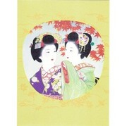 Chatting Geisha Japanese Greetings Card