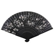Cherry Blossom Japanese Folding Fan - black