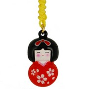 Cherry Kokeshi charm - red