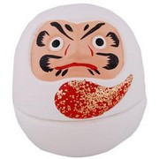 Daruma porcelain ornament - white