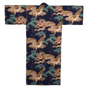 Dragon and Eagle Japanese Kimono Blue