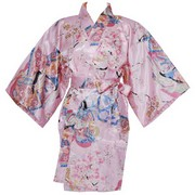 Dynasty in Cherry Blossoms Happi Kimono Wrapper, Pink