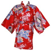 Dynasty in Cherry Blossoms Happi Kimono Wrapper, Red