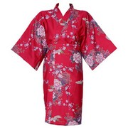 Flying Crane Wrapper (Kimono Dressing Gown) - Red