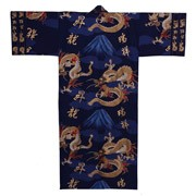 Fuji and Rising Dragon Kimono, Blue