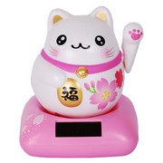 Happiness Solar Chubby Lucky Cat - pink (Cherry)