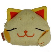 Lucky cat face purse - cream