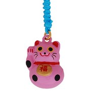 Lucky cat (pink) - mobile phone charm