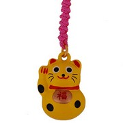 Lucky cat (yellow) - mobile phone charm