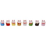 Mini Manekineko lucky cat - set of 8 (Feng-shui colours)