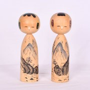 Mountain Scene Kokeshi Pair