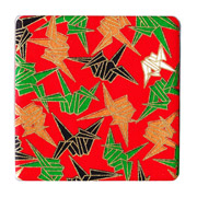Red Origami Crane Coaster Set (of 2)