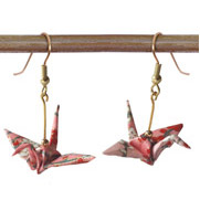 Origami Crane Earrings Handmade - Pink