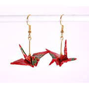 Origami Crane Handmade Earrings - Red