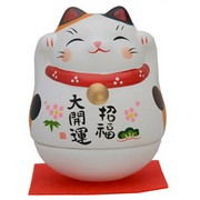 Big Roly-Poly Manekineko Lucky Cat - Mi-ke