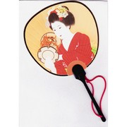 Scented Fan Card -  Geisha in red Kimono