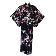 Crane and Plum Women's Silk Kimono - Black