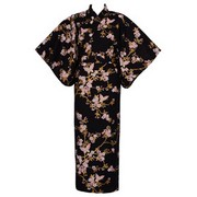 Butterfly and Cherry Blossoms Yukata, Black